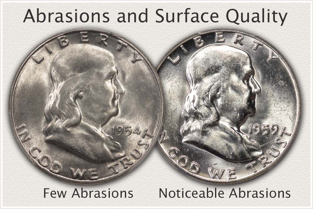 Close Up View of Surface Qualities of Franklin Half Dollars