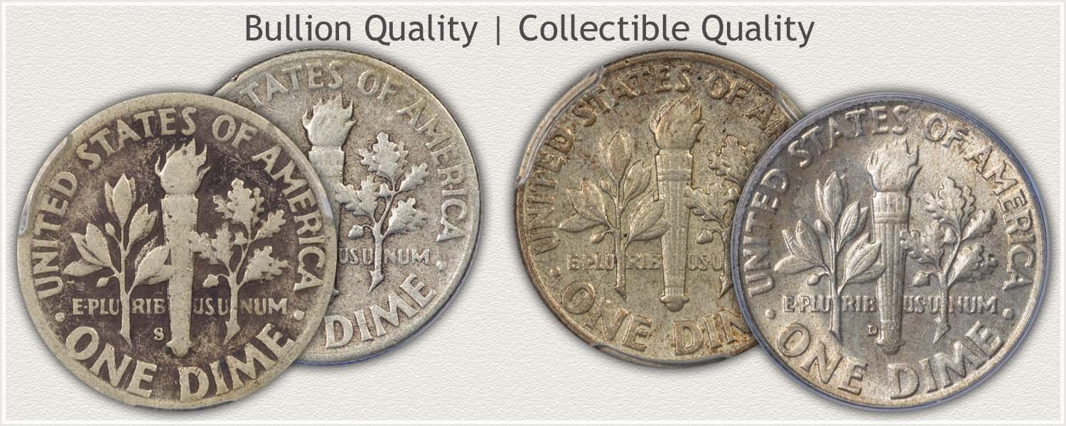 Collectible Quality and Bullion Quality Roosevelt Dimes
