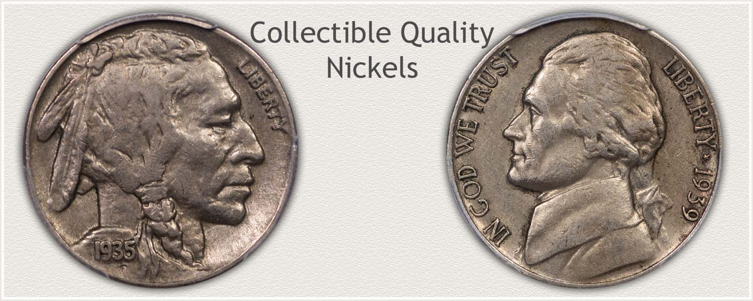 Buffalo and Jefferson Nickels Lightly Circulated