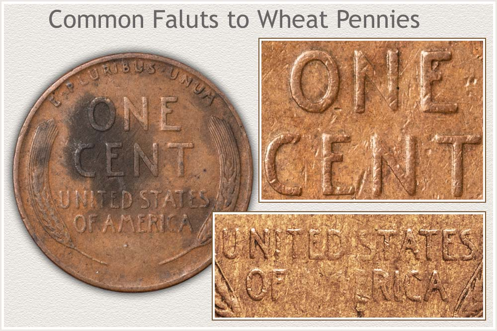 Discoloration, Large Marks, and Soft Strikes Lower Eye Appeal and Value to Wheat Penny Collectors