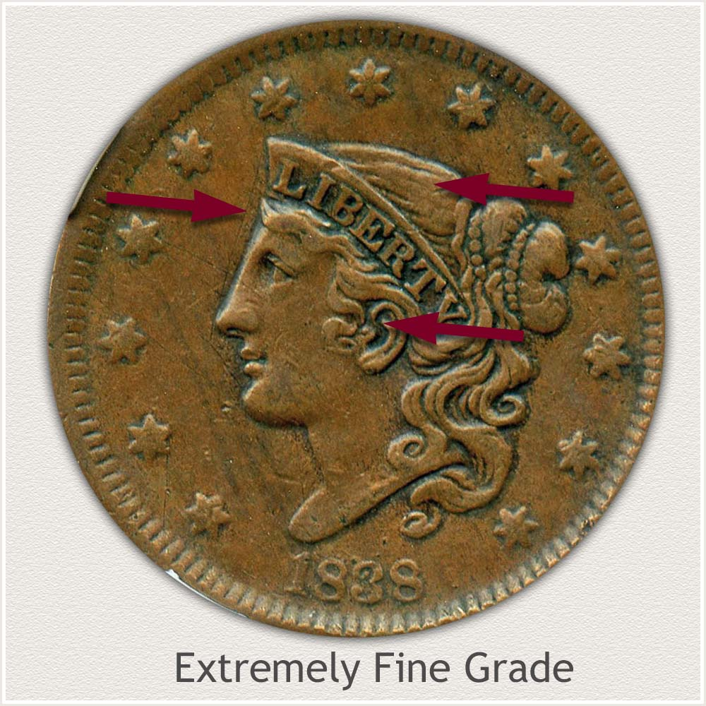 Obverse View: Coronet Head Large Cent Extremely Fine Grade