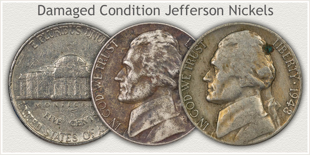 Damaged Jefferson Nickels