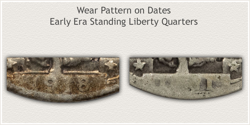 Wear of Dates on Early Standing Liberty Quarters