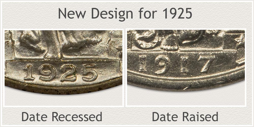 Examples of Raised and Recessed Date Standing Liberty Quarters