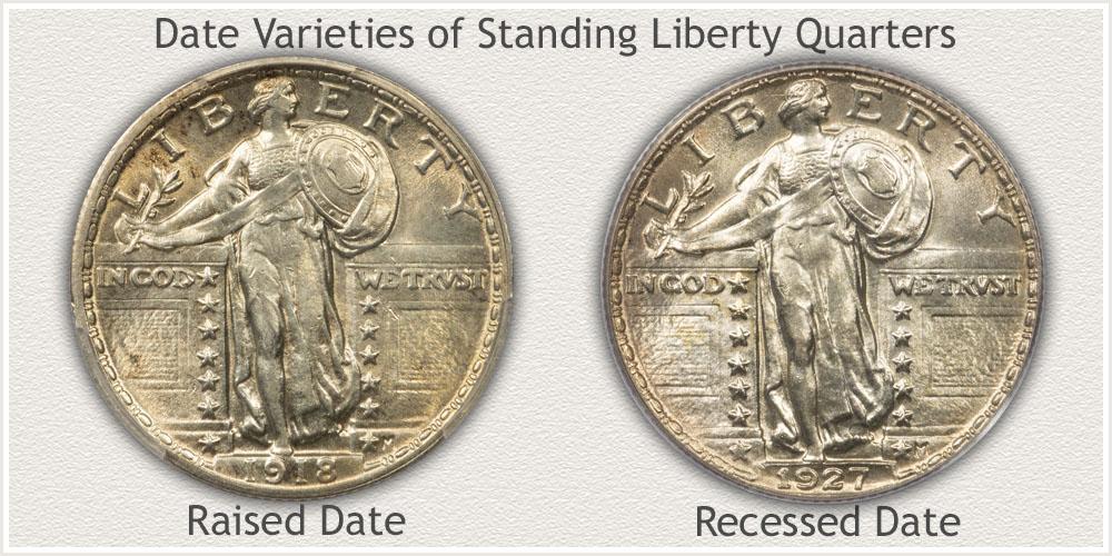 Date Varieties of Standing Liberty Quarters