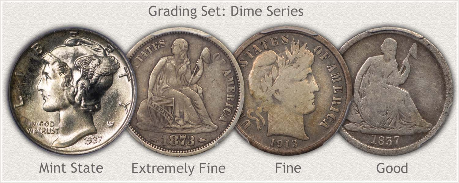 Dimes in Grades: Mint State, Extremely Fine, Fine, and Good Condition