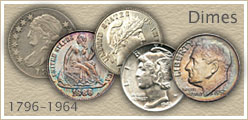 Dime Values Listed...  Coin Value Guide to Bust, Seated Liberty, Barber, Mercury, and Roosevelt Dime Values