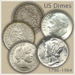 Uncirculated Bust Dime, Seated Liberty, Barber, Mercury and Roosevelt Dimes
