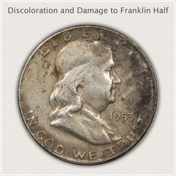 Discolored Franklin Half Dollar