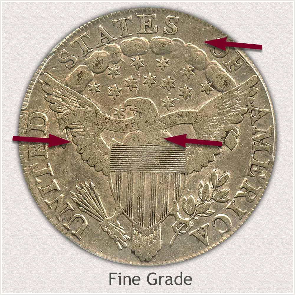 Reverse View: Fine Grade Draped Bust Silver Dollar