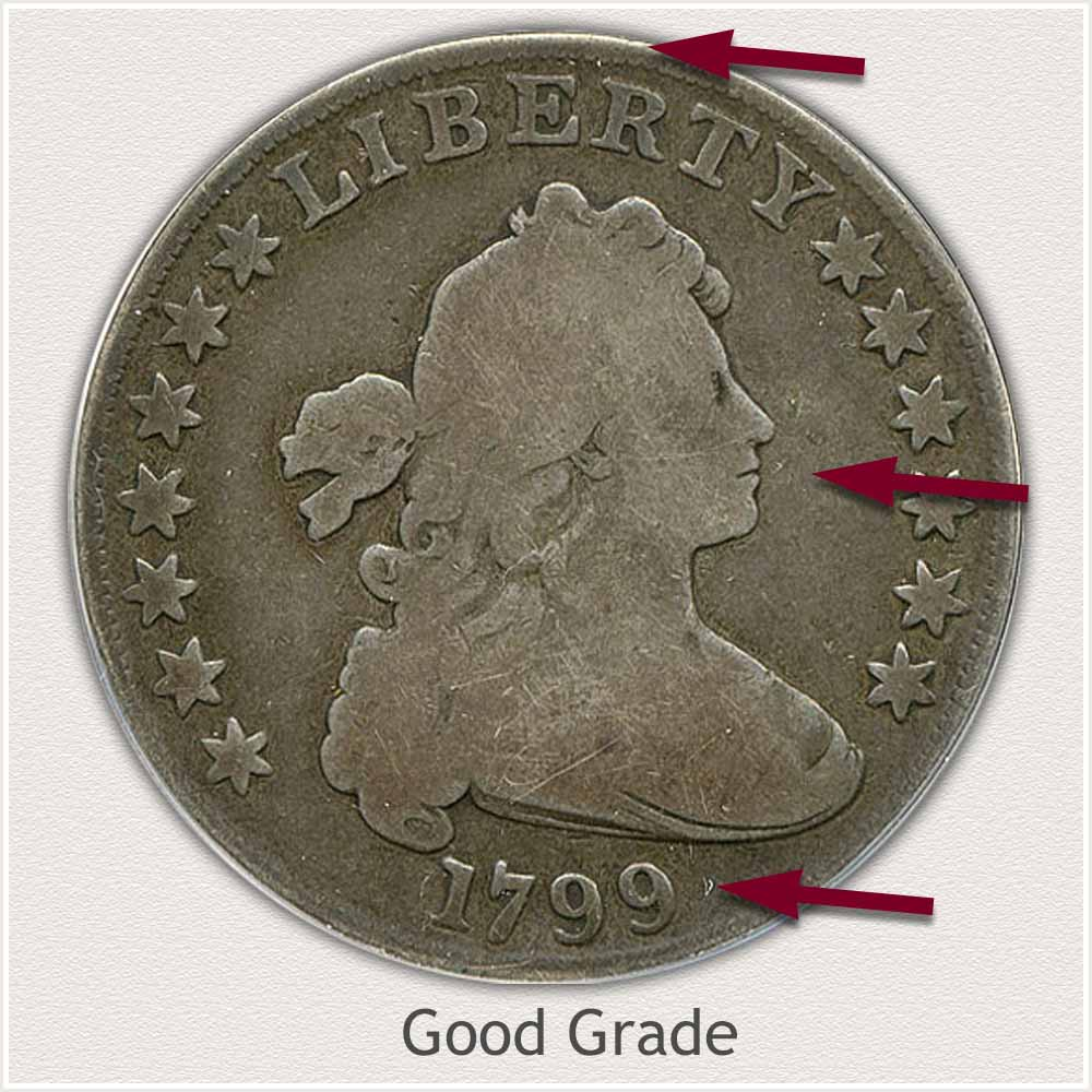 Obverse View: Good Grade Draped Bust Silver Dollar