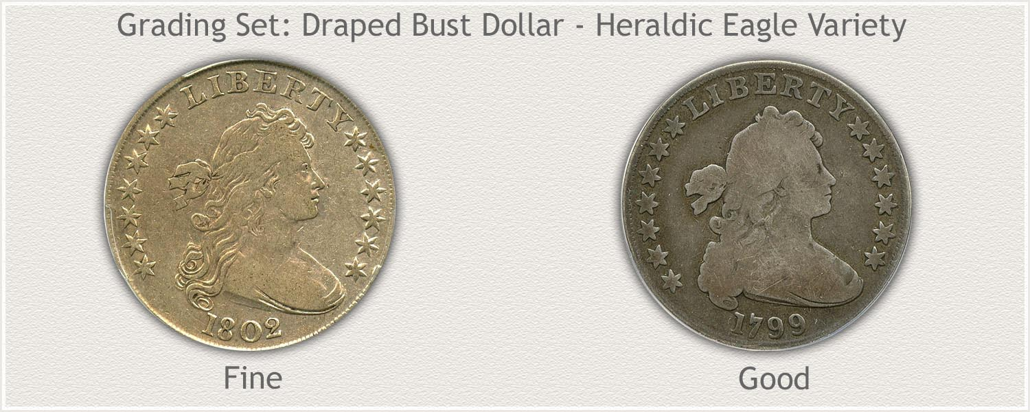 Grade Set of Bust Silver Dollars in Fine and Good Grades