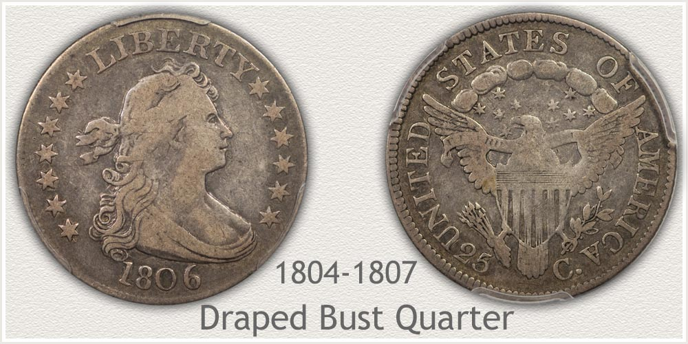 Obverse and Reverse of Draped Bust Quarter