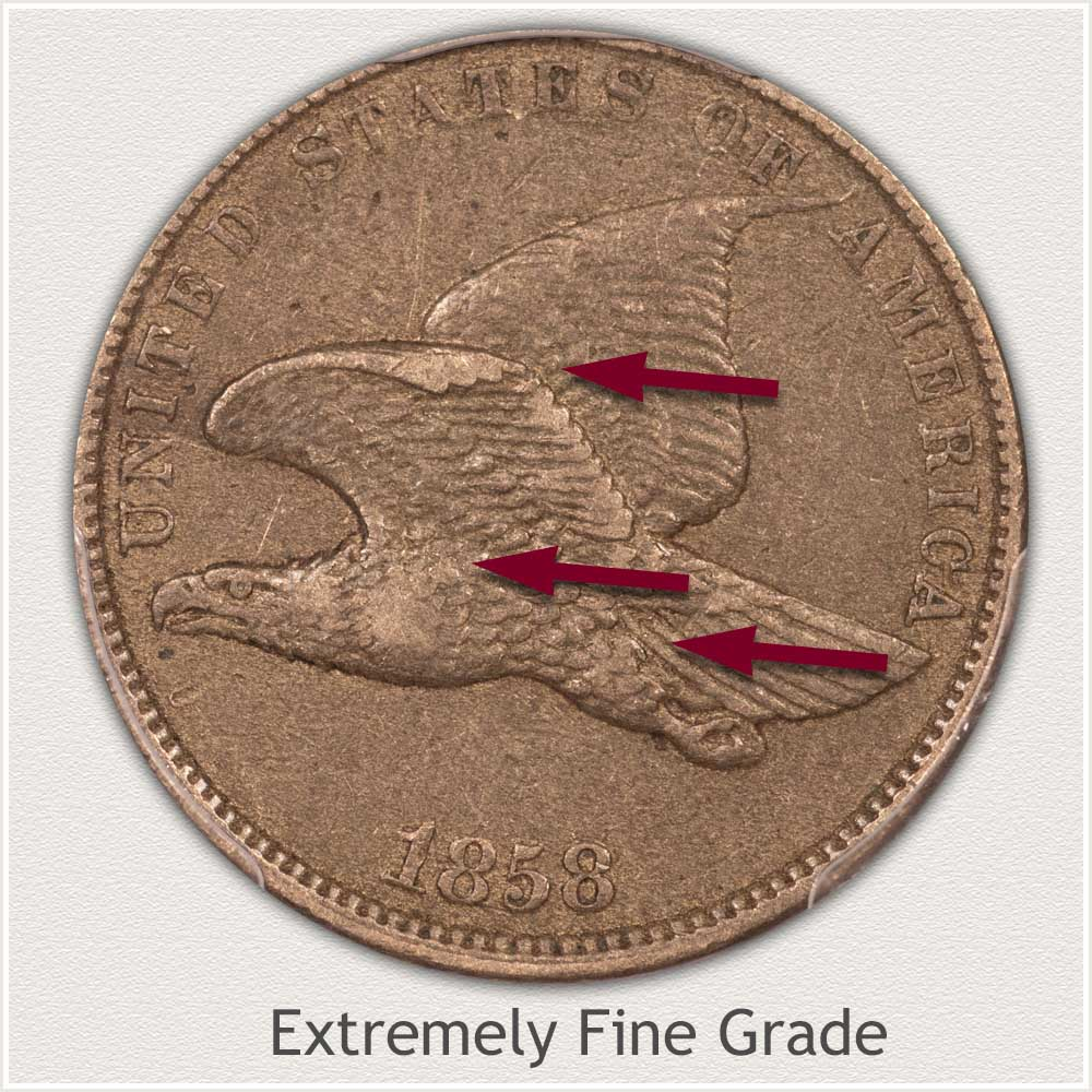 Obverse View: Extremely Fine Grade Flying Eagle Penny