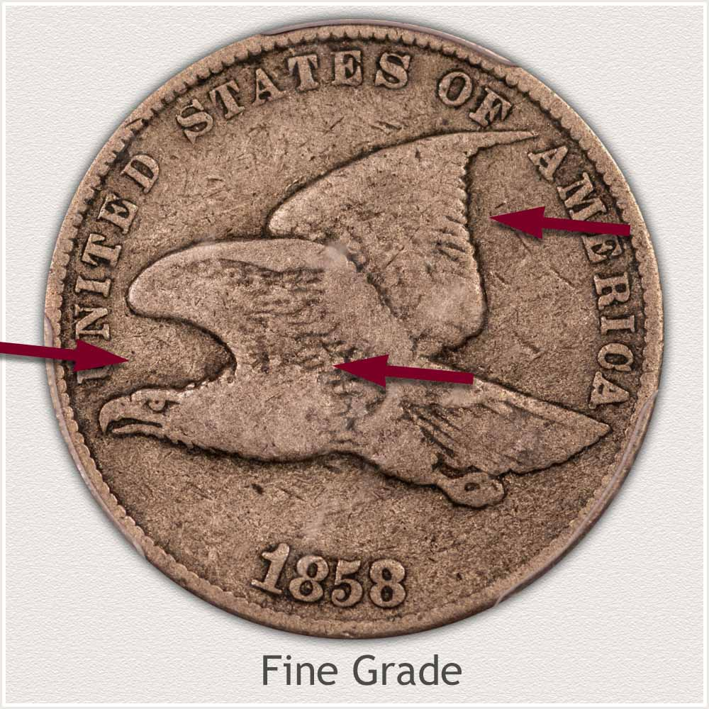 Obverse View: Fine Grade Flying Eagle Penny