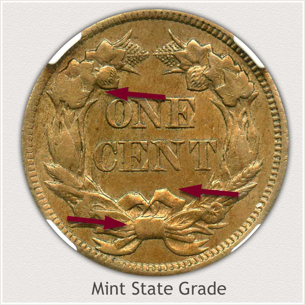 Reverse View: Mint State Grade Flying Eagle Penny