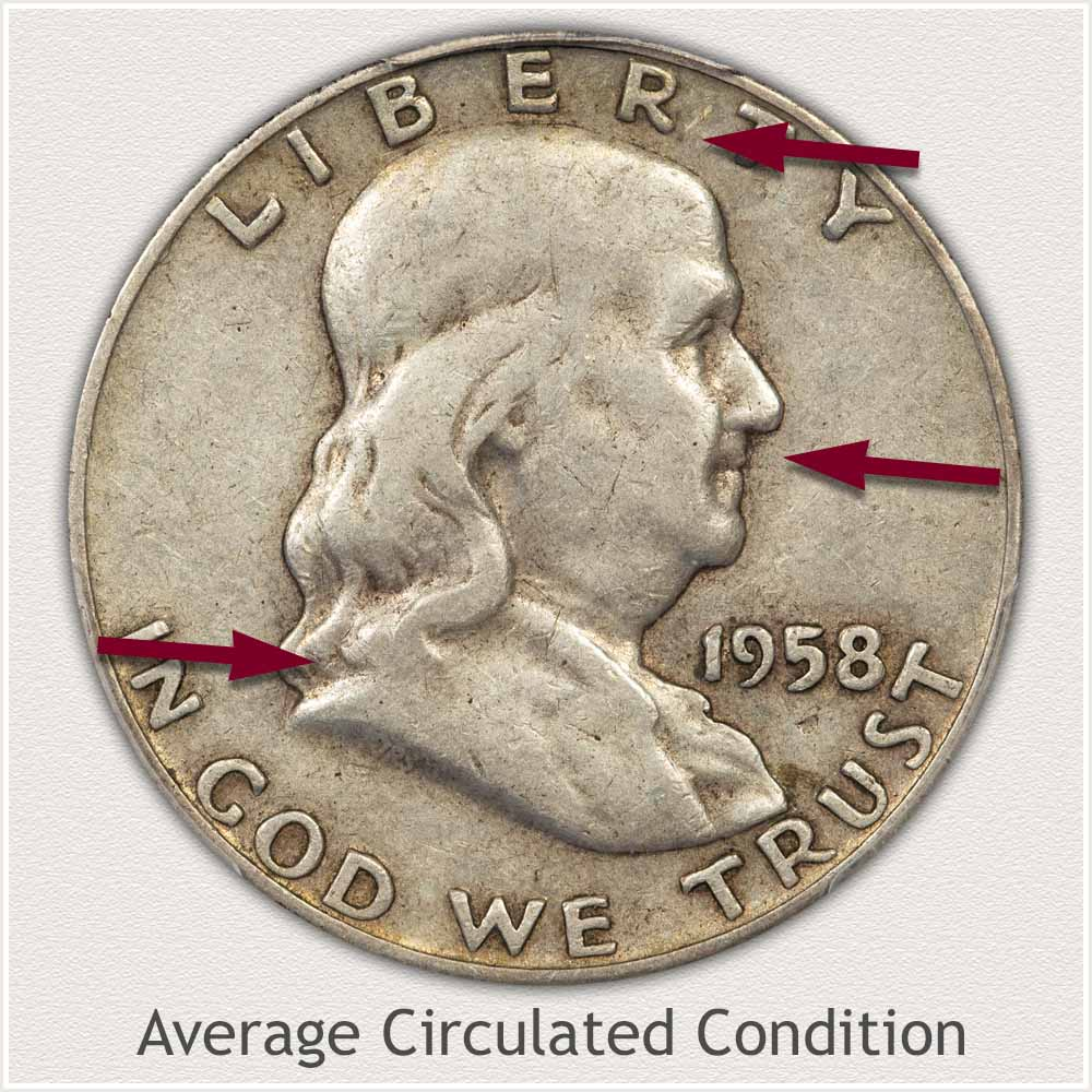Obverse View: Average Circulated Condition Franklin Half Dollar