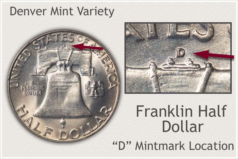 Franklin Half Dollar Struck at the Denver Mint