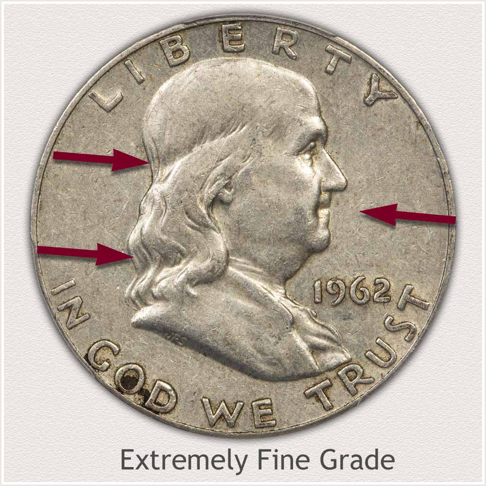 Obverse View: Extremely Fine Grade Franklin Half Dollar