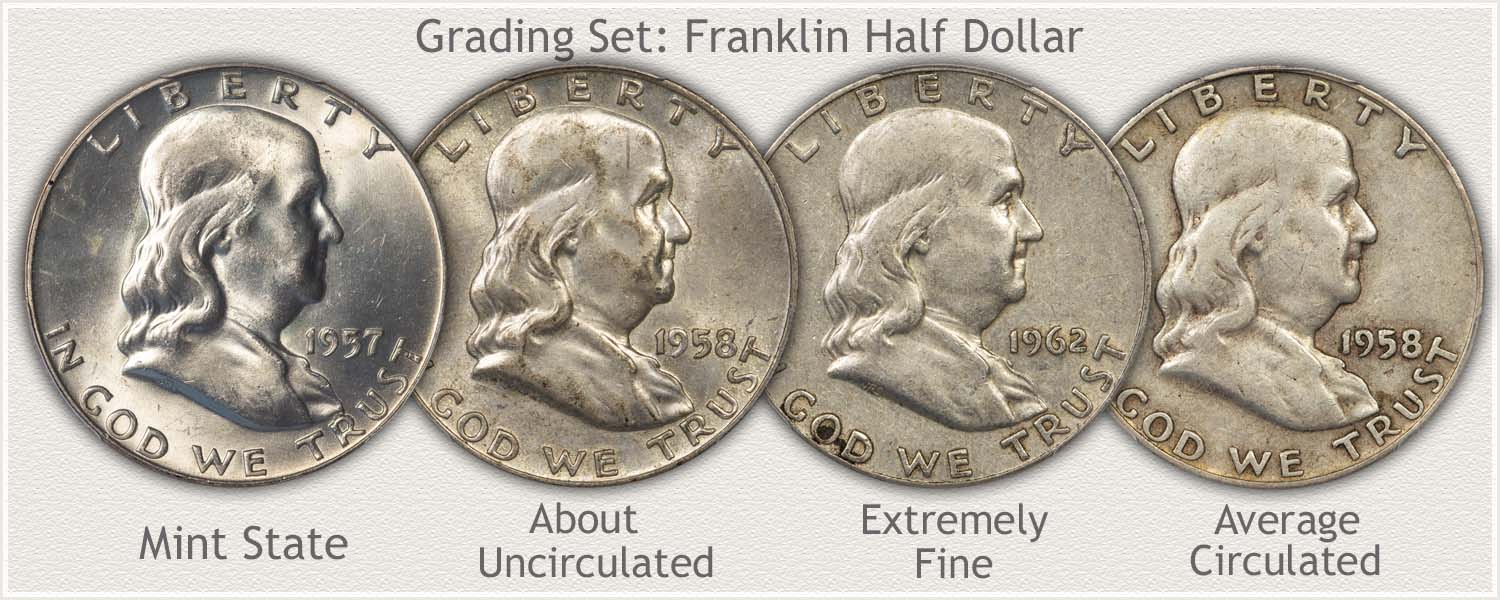 Grade Set of Franklin Half Dollars Mint State, Extremely Fine, Fine, and Good Grades