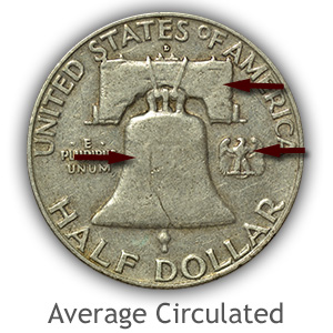 Grading Reverse Average Circulated Franklin Half Dollar