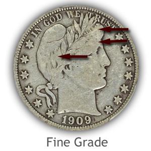 Grading Obverse Fine Condition Barber Half Dollars