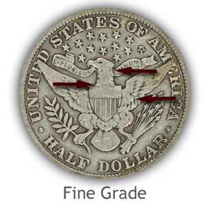 Grading Reverse Fine Condition Barber Half Dollars