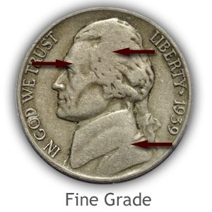 Grading Obverse Fine Condition Jefferson Nickels