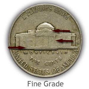 Grading Reverse Fine Condition Jefferson Nickels