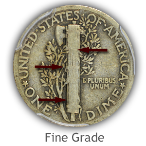 Grading Reverse Fine Condition Mercury Dimes