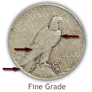 Grading Reverse Fine Condition Peace Silver Dollars