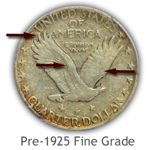 Grading Reverse Fine Condition Pre 1925 Standing Liberty Quarters