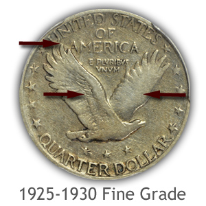 Grading Reverse Fine Condition 1925-1930 Standing Liberty Quarters