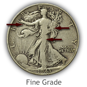 Grading Obverse Fine Walking Liberty Half Dollar