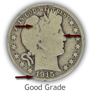 Grading Obverse Good Condition Barber Half Dollars