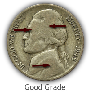 Grading Obverse Good Condition Jefferson Nickels