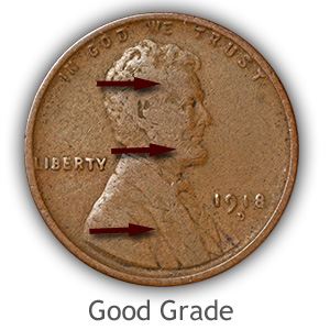 Grading Obverse Good Condition Lincoln Wheat Penny