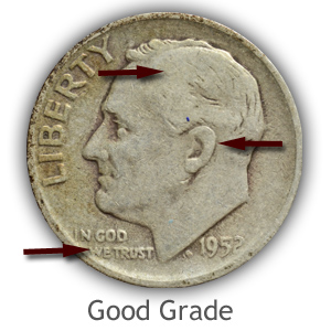 Grading Obverse Good Condition Roosevelt Dimes