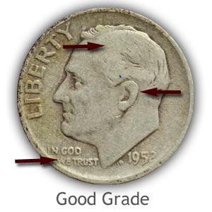 Grading Obverse Good Condition Roosevelt Dimes
