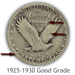 Grading Reverse Good Condition 1925-1930 Standing Liberty Quarters