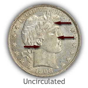 Grading Obverse Uncirculated Barber Half Dollars