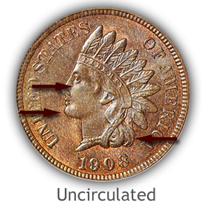 Grading Obverse Uncirculated Indian Head Pennies