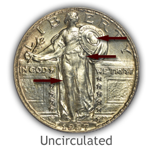 Grading Obverse Uncirculated Standing Liberty Quarters