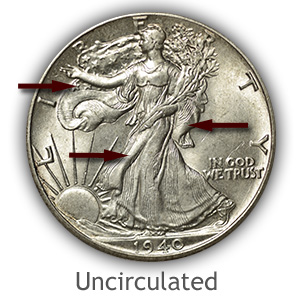 Grading Obverse Uncirculated Walking Liberty Half Dollar