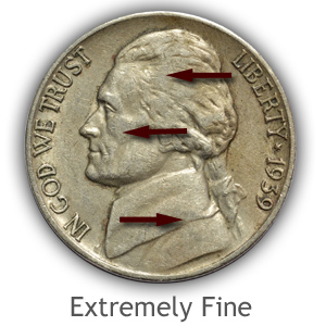 Grading Obverse Extremely fine Jefferson Nickels