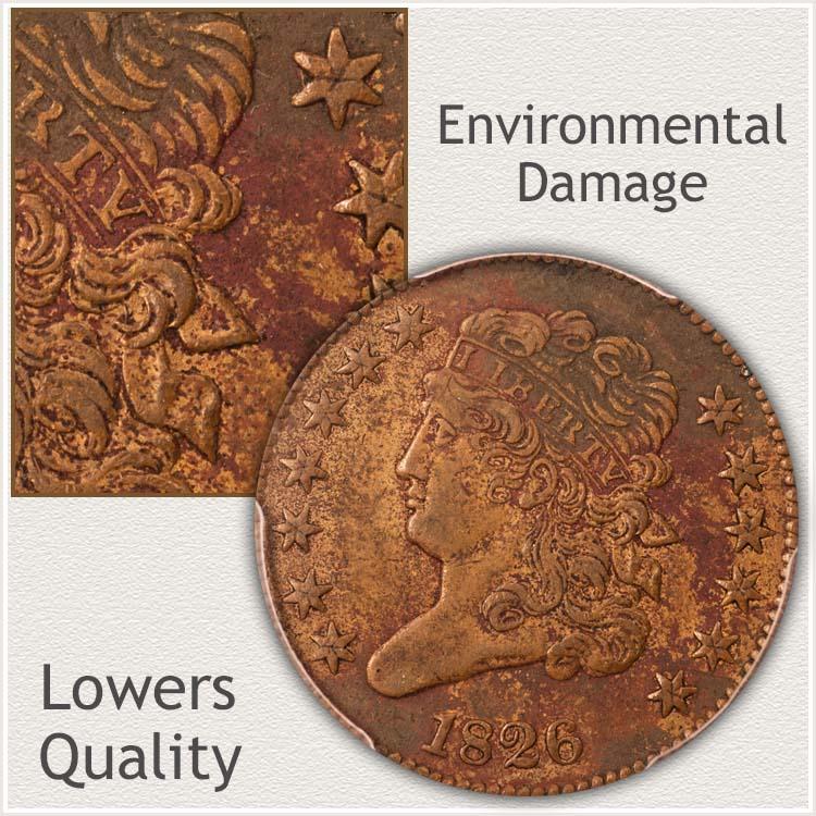 Half Cent Displaying Environmental Damage