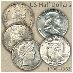 Uncirculated Bust Half, Seated Liberty, Barber, Walking Liberty and Franklin Half Dollar