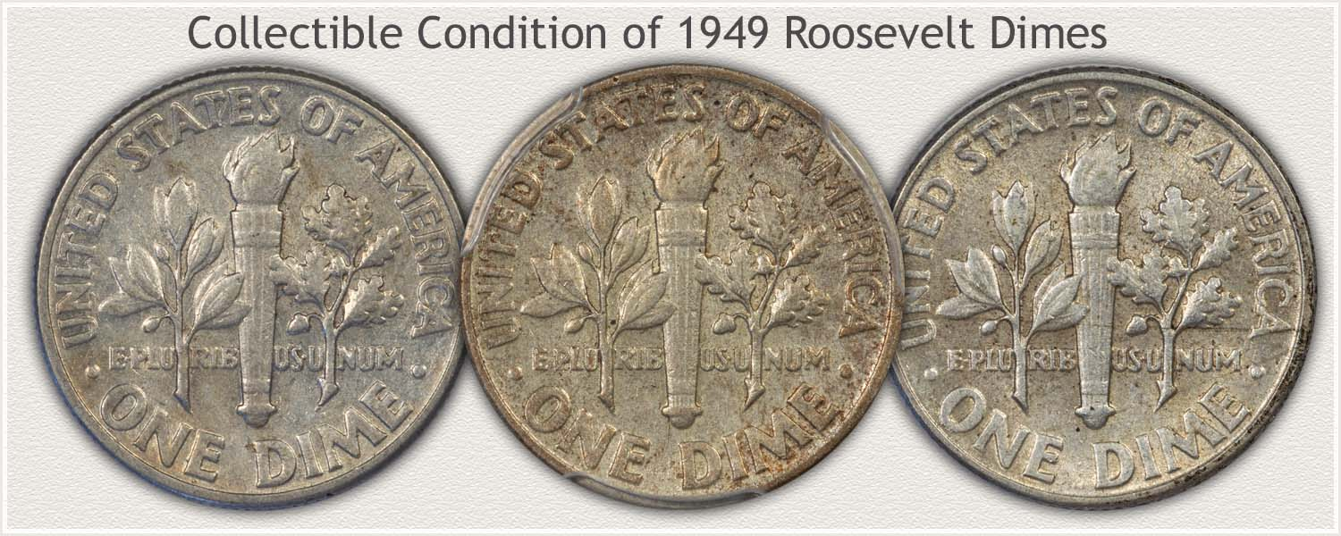 Three Roosevelt Dimes Lightly Circulated