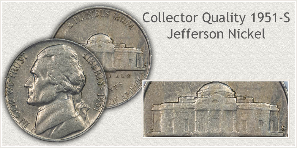 Reverse of Extremely Fine Grade 1951-S Jefferson Nickels