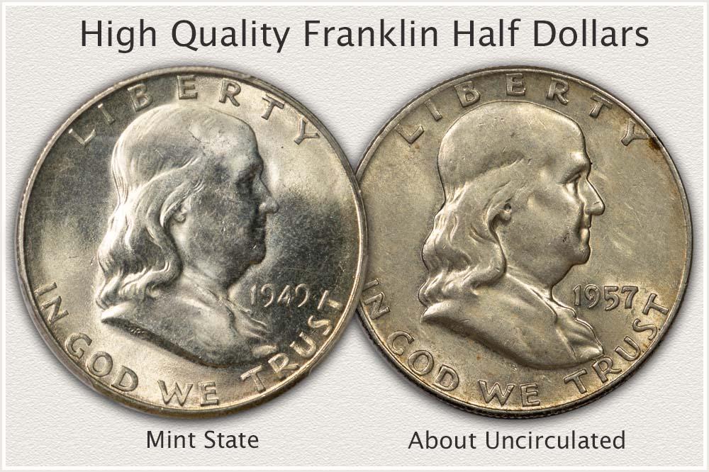 Two Pleasing High Quality Franklin Half Dollars